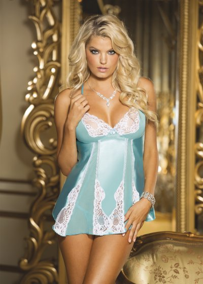 GORGEOUS CHARMEUSE AND CUT-OUT LACE BABYDOLL
