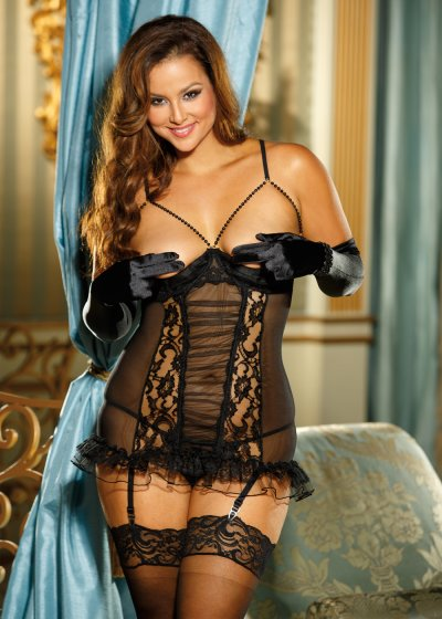Průsvitné XXL erotické prádlo s podvazky X25367