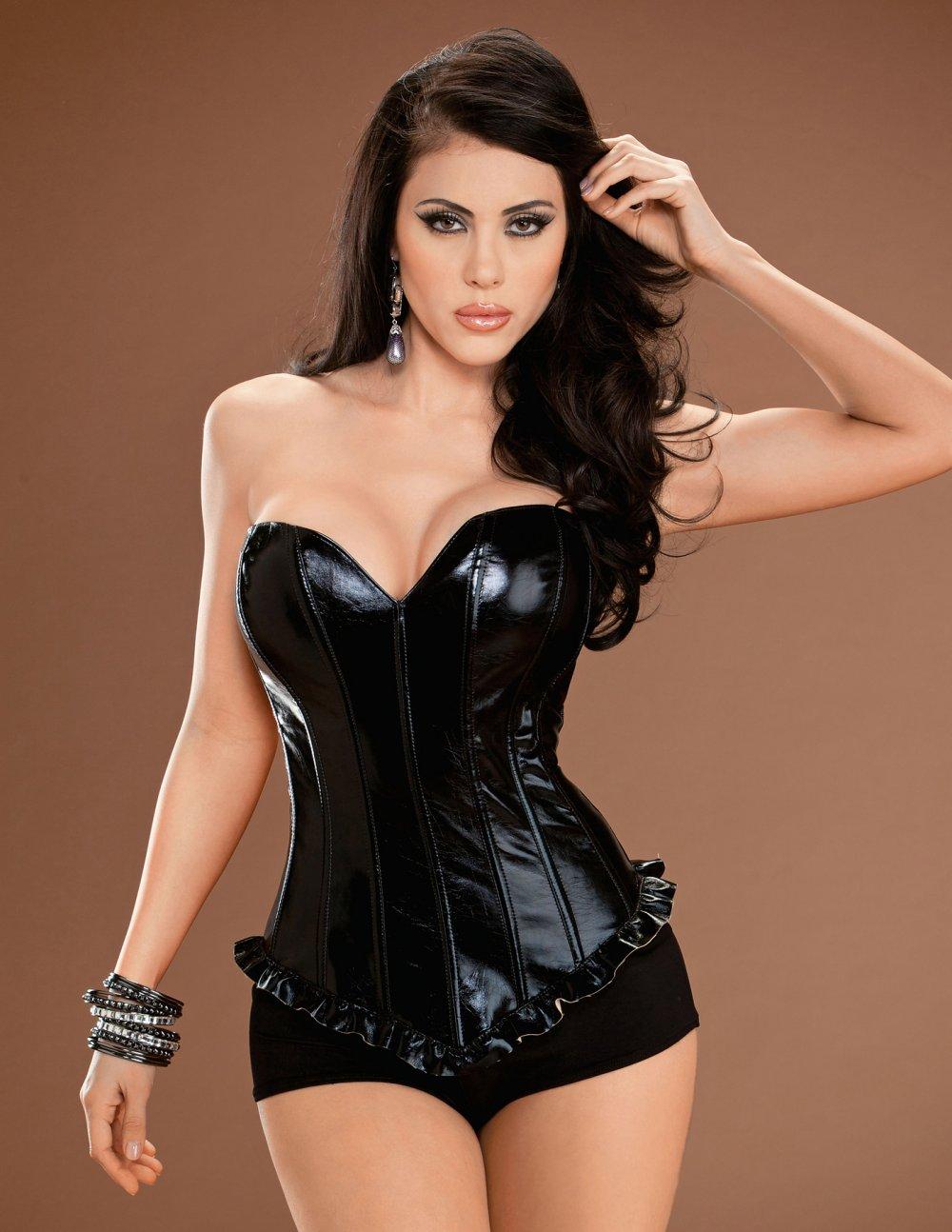 Černý korzet s nabíraným lemem 93031 32 černá Escanté