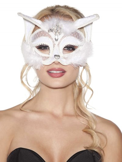 Škraboška bílá kočička 905