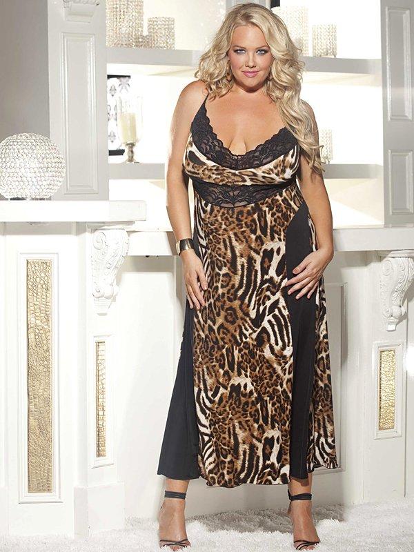 Dlouhá noční košilka XXL se zvířecím vzorem x3244 1X černá / leopard Shirley of Hollywood