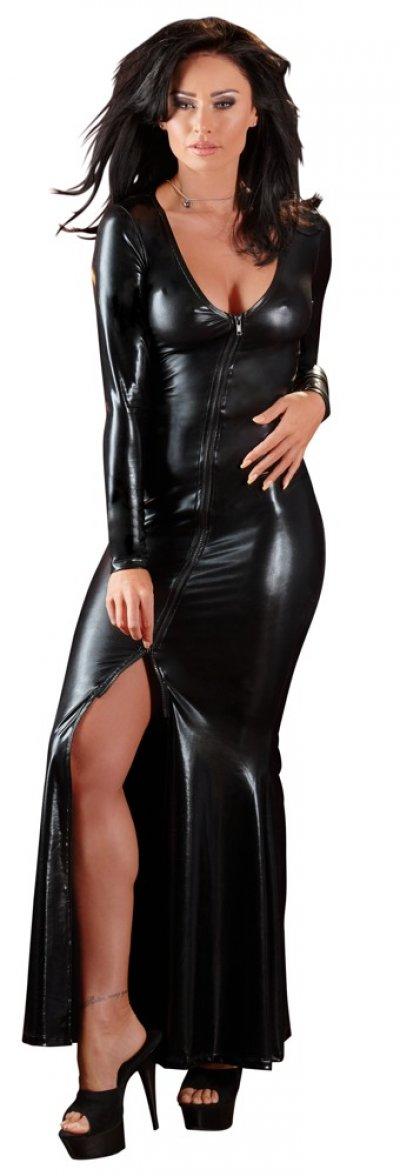 Dlouhé wetlook šaty s vysokým rozparkem