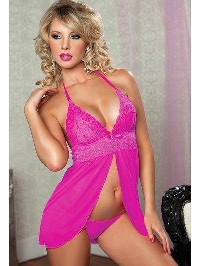 Růžová sexy košilka s volným bříškem 9645