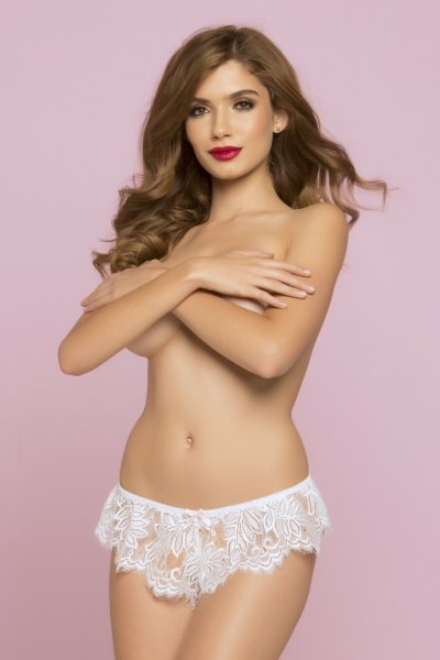 DISC STM Eyelash lace boxer with shirred waistband 10761