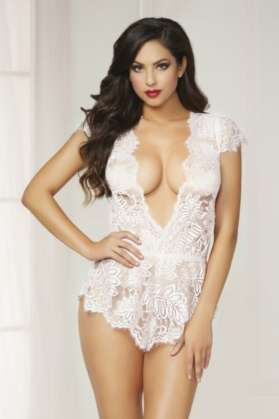STM Eyelash lace romper with plunging neckline 10718