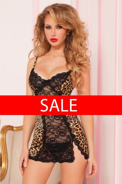 Luxusní košilka s leopardím vzorem 9826