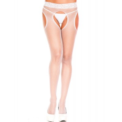 Fishnet Tights With Open Crotch - White