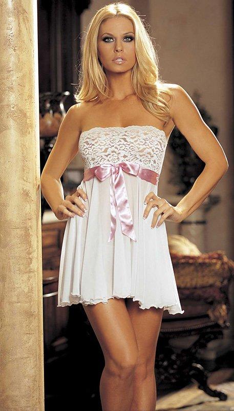 Svatební noční košilka Kim 96273 bílo / růžová Shirley H.O.T.