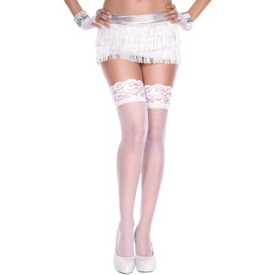 Silicone lace top spandex sheer thigh hi WHITE