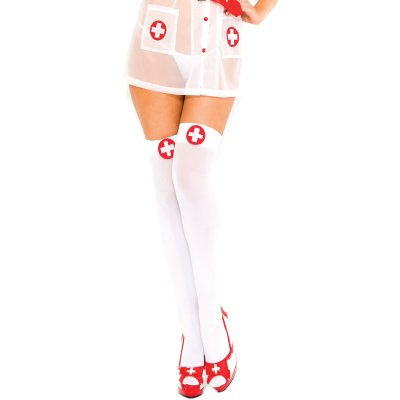 Nurse white cross thigh hi WHITERED