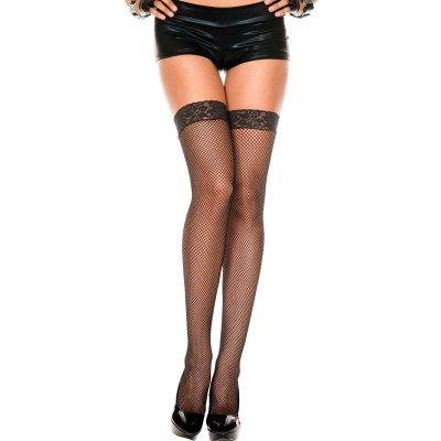 Lace top fishnet thigh hi BLACK