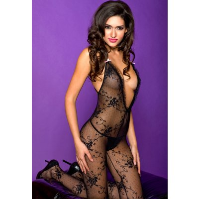 Lace bodystocking with cross back strap
