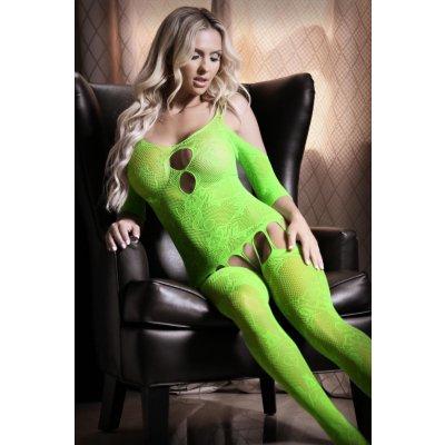 Stargazing Cold Shoulder Suspender Catsuit - Neon Green