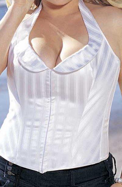 Bílý korzet s ozdobným límcem XXL X25926